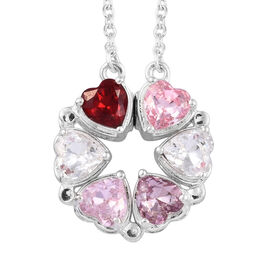 J Francis Crystal from Swarovski Multi Colour Crystal (Hrt) Necklace (Size 18) in Sterling Silver, S
