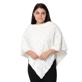 Super Soft Faux Fur Poncho (Size 70x75 Cm) - White