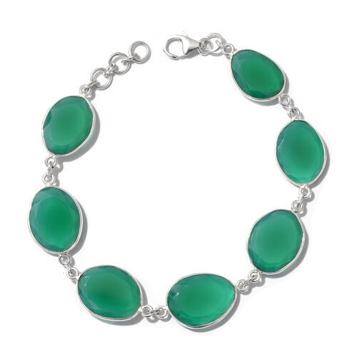 Verde Onyx (Fancy) Bracelet (Size 8) in Sterling Silver 35.000 Ct.