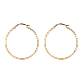 Super Auction-9K Yellow Gold Diamond Cut Hoop Earrings (with Clasp), Gold wt 2.10 Gms