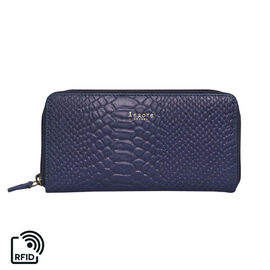 Assots London HAZEL Python Embossed Genuine Leather RFID Zip Around Purse (Size 20x2x10 Cm) - Navy