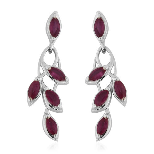 AA African Ruby Dangle Earrings (with Push Back) in Platinum Overlay Sterling Silver 1.75 Ct.