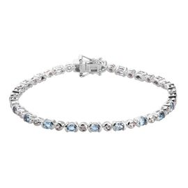 Santamaria Aquamarine and Natural Cambodian Zircon Line Bracelet (Size 7.5) in Platinum Overlay Ster
