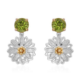 Chinese Peridot (4.26 Ct) Sterling Silver Earring  4.260  Ct.