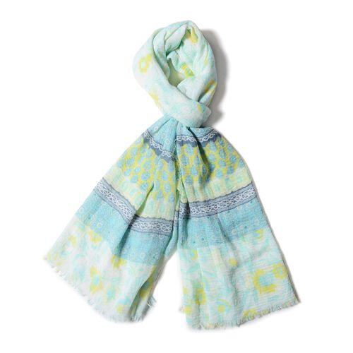 White, Yellow, Pink and Green  Colour Small Flower with Strip Pattern Scarf (Size 170x90 Cm)
