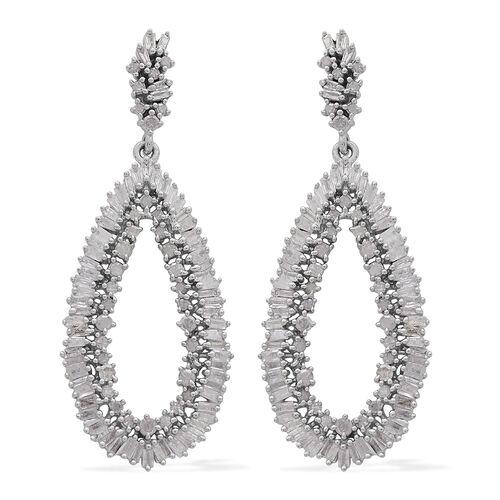 2 Carat Diamond Cluster Drop Earrings in Platinum Plated Sterling Silver 5.87 Grams