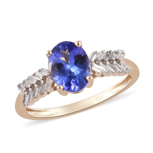 1.30 Ct Tanzanite and Diamond Solitaire Ring in 9K Yellow Gold