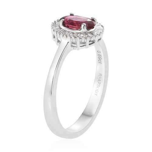 RHAPSODY 950 Platinum Ouro Fino AAAA Rubelite (Ovl), Diamond (VS/E-F) Ring 1.000 Ct.