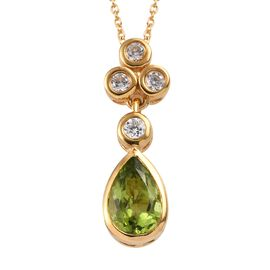 Hebei Peridot (Pear), Natural Cambodian Zircon Pendant With Chain in 14K Gold Overlay Sterling Silve