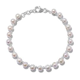 Designer Inspired- One Time Deal Fresh Water Pearl (Rnd 5mm) Tennis Bracelet (Size 7.5) in Sterling Silver, Silver wt 5.41 Gms.