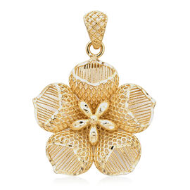 Royal Bali Collection - 9K Yellow Gold Diamond Cut Flower Pendant