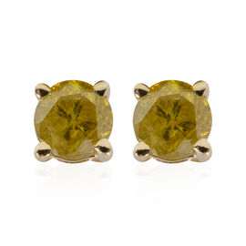 9K Yellow Gold Yellow Diamond (Rnd) Stud Earrings (with Push Back) 0.40 Ct.