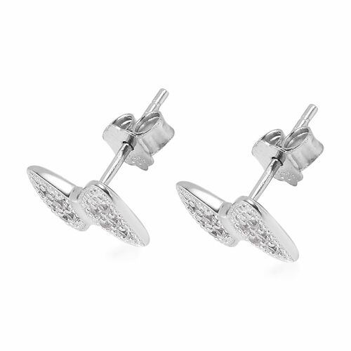 Bow Stud Earrings for Kids with Natural Cambodian Zircon in Sterling Silver