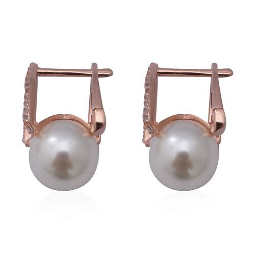 Simulated White Pearl and Simulated Diamond Hoop Earrings in Rose Gold Overlay Sterling Silver