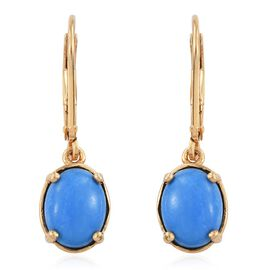 Ceruleite (Ovl) Lever Back Earrings in 14K Gold Overlay Sterling Silver 2.750 Ct.