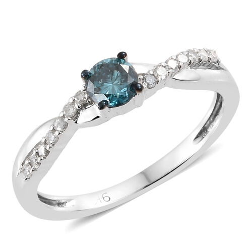 Blue Diamond and White Diamond Solitaire Design Ring in 9K White Gold