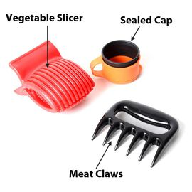 3 Piece Set - Kitchen Solution Meat Claws, Vegetable Slicer and Keep-Fresh Sealed Cap (Size 11x11x2.