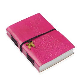 Embossed Leather Notebook with Butterfly Charm (Size 17.78x12.7 Cm) - Fuchsia
