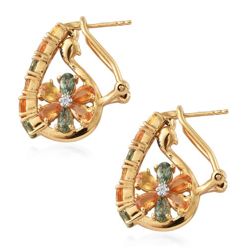 Rainbow Sapphire (Pear and Ovl), Natural White Cambodian Zircon Earrings (with French Clip) in 14K Gold Overlay Sterling Silver 6.000  Ct, Silver wt 7.350 Gms
