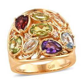Hebei Peridot and Multi Gemstone Ring in 18K Yellow Gold Plated  3.25 Ct.