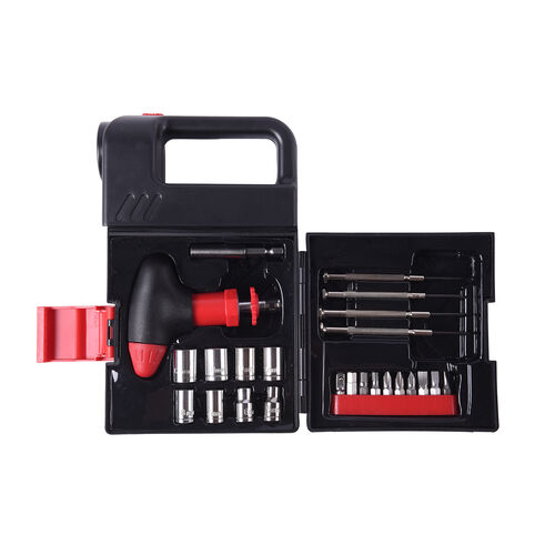 Portable Flashlight Jerry Can Design Tool Box (Inclds. 1pc Handle, 1pc Prolong Bar, 4pcs Precision Screwdrivers, 8pcs Sockets, and 10pcs Bits)- Red and Black