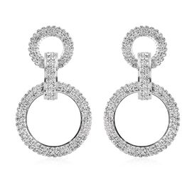 White Austrian Crystal Circular Link Drop Earrings in Silver Tone