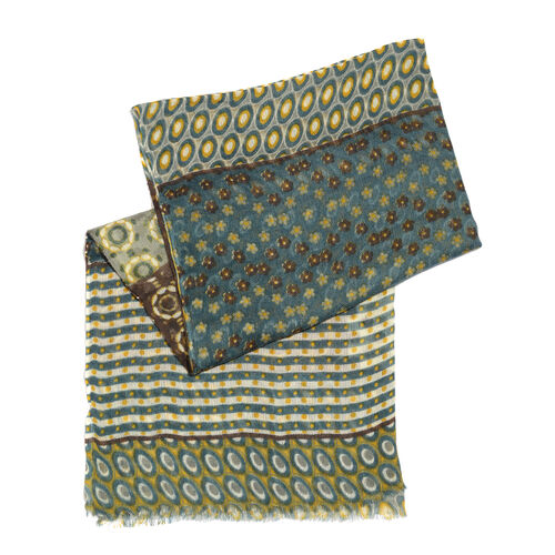 100% Merino Wool Green, Chocolate and Multi Colour Floral, Stripes and Dots Pattern Scarf with Fringes (Size 170X70 Cm)