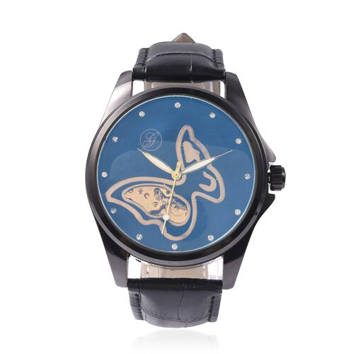 GENOA Automatic Butterfly Motif Skeleton White Austrian Crystal Studded Water Resistant Watch in Dua