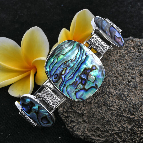 Royal Bali Collection Abalone Shell Bracelet (Size 7.5 - 8) in Sterling Silver, Silver wt 19.10 Gms
