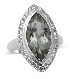 Green Amethyst and Natural Cambodian Zircon Ring in Rhodium Overlay Sterling Silver 5.02 Ct.