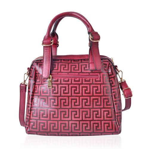 Greek Key Pattern True Red Top Handle Bag with External Zipper Pocket and Adjustable and Removable Shoulder Strap (Size 28X26X10.5 Cm)