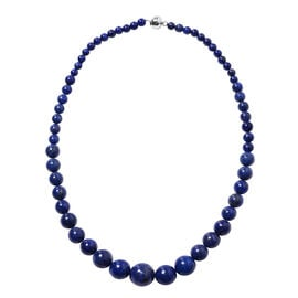 359.50 Ct Lapis Lazuli Beaded Necklace with Magnetic Lock in Rhodium Plated Silver 20 Inch