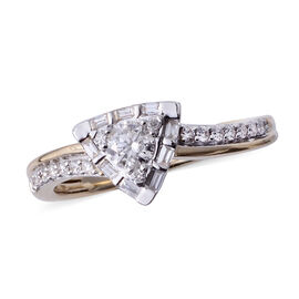 14K Yellow Gold (I1/G-H) Diamond (Rnd) Triangle Ring 0.500 Ct.