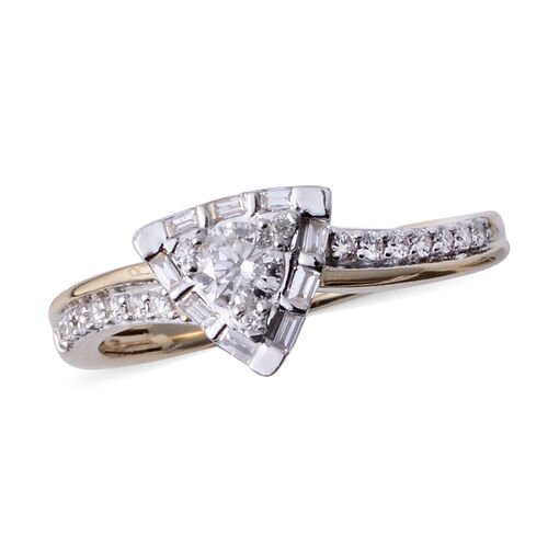 14K Yellow Gold (I1/G-H) Diamond (Rnd) Triangle Ring 0.500 Ct.