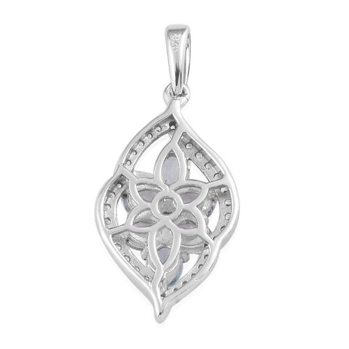 Santa Teresa Aquamarine and Natural Cambodian Zircon Pendant in Platinum Overlay Sterling Silver 1.19 Ct.