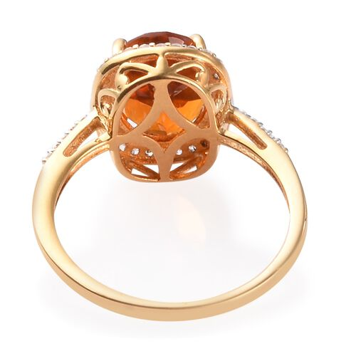 Close Out Deal- Citrine (Ovl 10x8mm) and Natural Cambodian Zircon Ring in 14K Gold Over Sterling Silver 2.75 Ct.