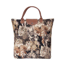 Signare - Fold Away Shopping Bag in Cat Design (30x10x35 cms) - Beige, Brown and Black
