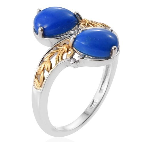 Ceruleite (Pear) Crossover Ring in Platinum and Yellow Gold Overlay Sterling Silver 2.000 Ct.