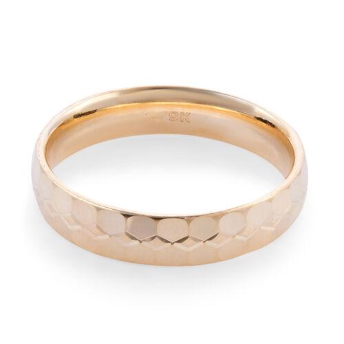 Royal Bali Collection - 9K Yellow Gold Diamond Cut Band Ring