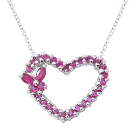 Burmese Ruby (Rnd) Heart Pendant With Chain (Size 18) in Rhodium Overlay Sterling Silver 1.750 Ct.