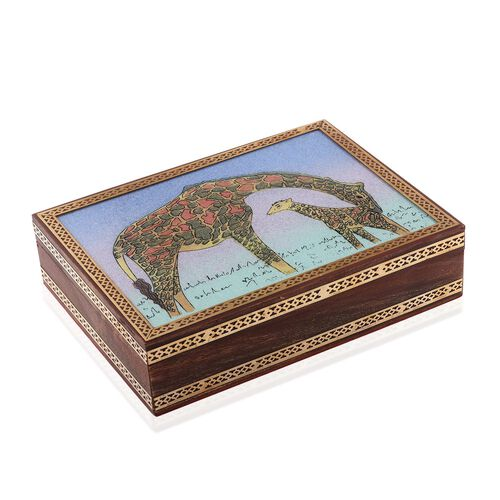 (Option 2) Handcrafted Wooden Gemstone Jewellery Box with Giraffe Painting on Top (Size 21x16x5 Cm)