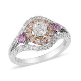 1.10 Ct Diamond and AAA Pink Sapphire Halo Ring in 14K White Gold 3.70 Grams I1 I2 GH