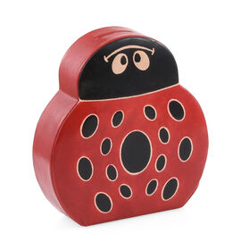 Genuine Leather Black and Red Colour Hand Painted Lady Bug Shape Money Bank (Size 14x13x4 Cm)