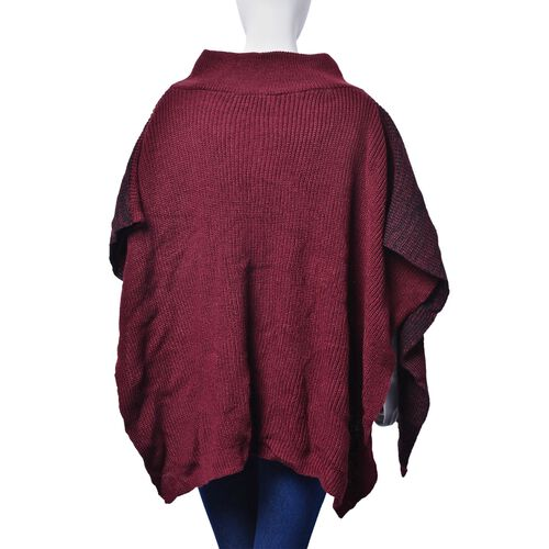 Burgundy and Black Colour Knitted Winter Poncho with 2 Pockets (Size 85x60 Cm)