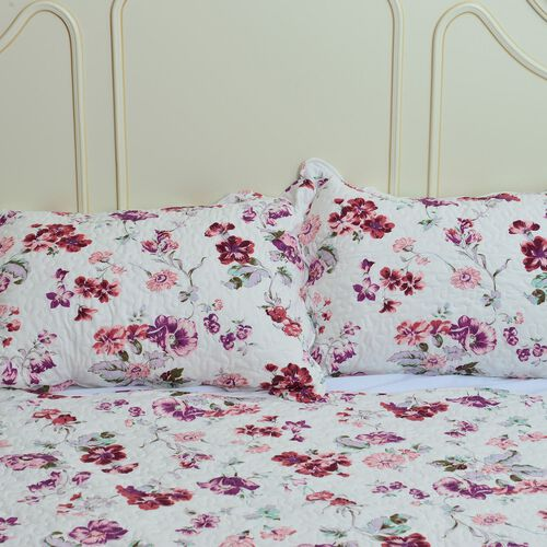 Purple, White and Multi Colour Floral Pattern Quilt (Size 260x240 Cm) with 2 Quilted Pillow Shams (Size 70x50 Cm)