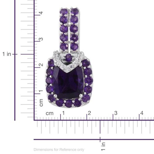 Amethyst (Cush 4.50 Ct), Natural Cambodian Zircon Pendant in Platinum Overlay Sterling Silver 5.920 Ct.