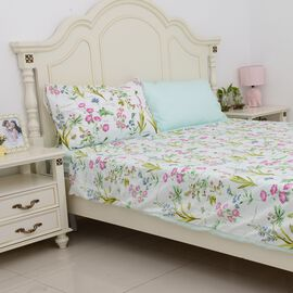 4 Piece Set  - Floral Pattern Single Duvet Cover (Size 135x200Cm), 2 Pillow Case (Size 2x50x70+5 Cm)