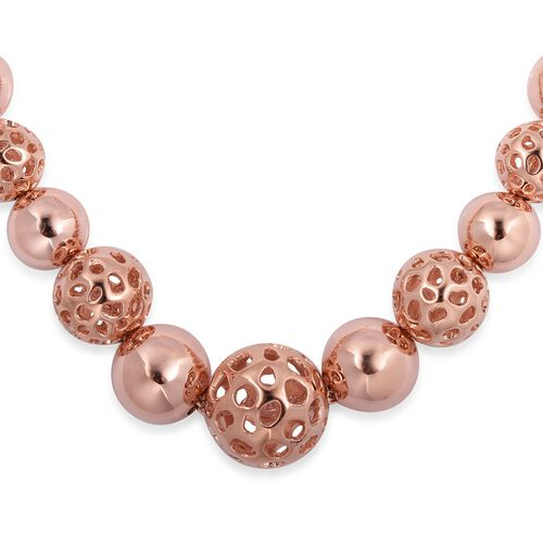 Super Auction- RACHEL GALLEY Rose Gold Overlay Sterling Silver Graduated Globe Necklace with Magnetic Lock (Size 20), Silver wt 42.5 Gms.