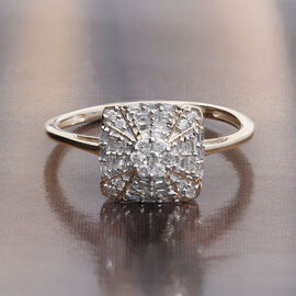 9K Yellow Gold SGL Certified Diamond (I3/G-H) Ring 0.30 Ct.