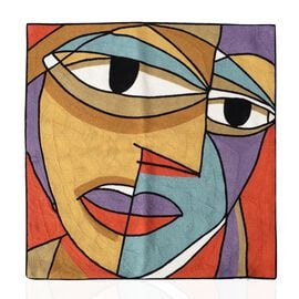 Limited Edition - Pablo Picasso Full Embroidery Cushion Cover (43x43 cm) Brown and Terracotta Tones